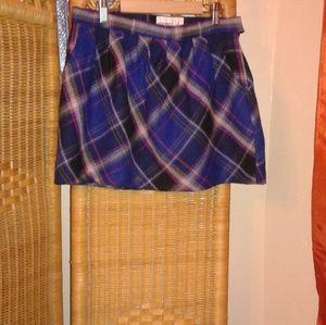 Old Navy woman mini skirt plaid blue purple size 4